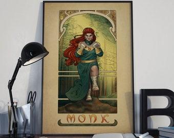 La Moine - The Monk - Print - Tabletop Nouveau Dungeons and Dragons Pathfinder