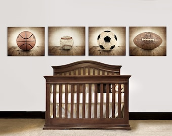 Set of Four Canvases  Ready to Hang, Vintage Single Baseball On Barnwood, Soccer, Football and Basketball