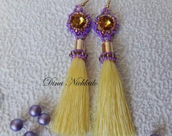 Chandelier earrings Yellow beaded tassel earrings Bright Fringe Statement Earrings Long Tassel Earrings Dangle earrings Bohemian earrings