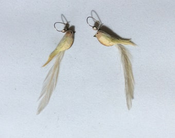 Delicate Feathered Bird Earrings with Red Stone Eyes