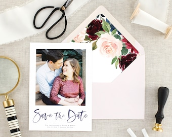 Fall Wedding Save the Date - Save the Date Cards - Floral Wedding Save the Date with Photo - Burgundy Wedding - Set of 10