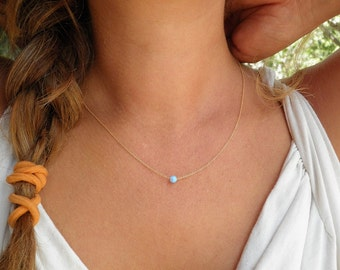 Wedding Opal Necklace, Tiny One 4mm Blue Opal Necklace, Gold Necklace, Bridesmaid gift Opal Jewelry, Minimalist Pendant Everyday Necklace