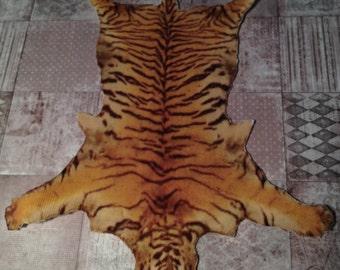 Dollhouse Miniature Tiger Skin Rug, Scale One Inch
