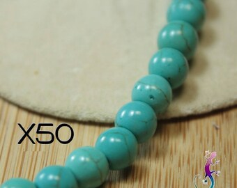 50 beads 6mm turquoise dyed howlite A171