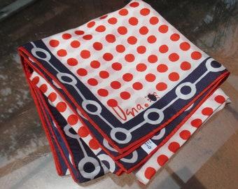 Vintage Vera Red Polka Dot Ladybug Navy Blue Scarf Stains TLC