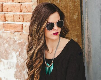 turquoise sticks and grey necklace