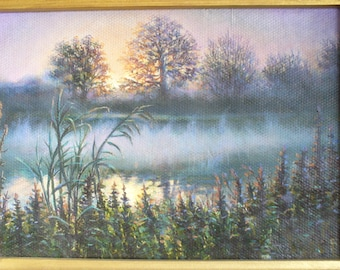 Water painting Oil Painting Landscape original oil painting Hand painted, Wall Art,  water Landscape, landscape art realistic landscape