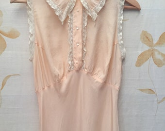 1930s blush pink vintage silk crepe and alencon lace gown
