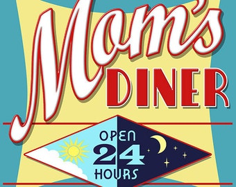 Moms Diner 24 Hours Day Night Wall Decal #41860