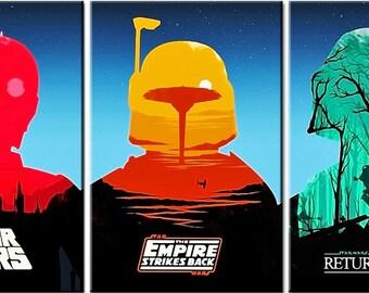 Star Wars, 3 Head, 3 Panels Canvas Print, Wall Art