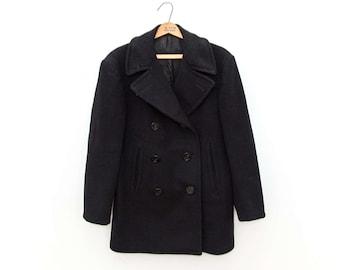 Genuine Vintage Wool Navy Pea Coat, Size 36