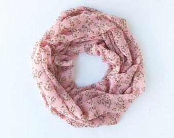Peach Infinity Scarf, Floral Infinity Scarf, Chiffon Scarf, Sheer Scarf, Fashion Scarf, Summer Scarves, Indoor Scarf, Teacher, Coworker Gift