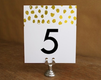 Printable Table Number - Gold Dots - Gold Dot Table Number Template - Wedding Table Number Printable - Black and Gold - Gold Dot Table Tent