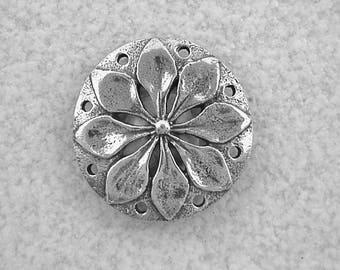 Bob Burkett Large Round Flower Pewter Pendant