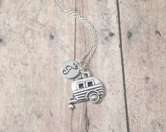 Camper initial necklace - camper jewelry, RV necklace, travel necklace, camping jewelry, RV jewelry,  camper pendant, tiny house jewelry