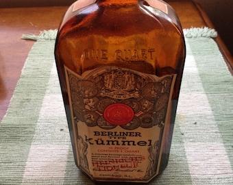 Vintage Berliner Kümmel Empty Liqour Bottle