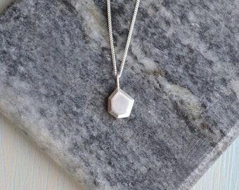 Solid Sterling Silver Faceted Asymmetrical Nugget Necklace | Solid 3D Nugget Pendant | Geometric Pendant Necklace
