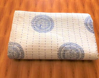 Hand Made Cotton Indian Kantha Quilted Kantha Quilt Bed Spread Blanket Throw