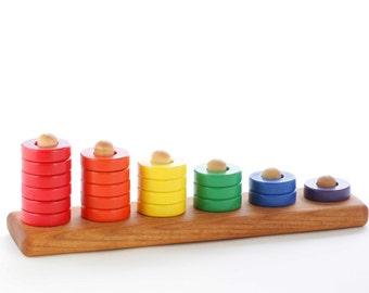Wooden Toy Ring Stacker - Rainbow Stacker - Nesting Toy - Montessori - Waldorf