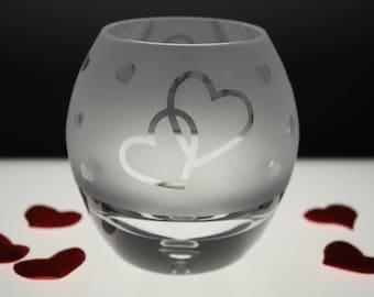 Hand Etched Tealight - Entwined Hearts