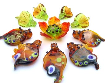 Lampwork Glass Flower Beads for Jewelry Making, Set of Orange- Green Butterfly Wings with Flower and Leaves, Made to Order