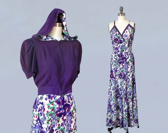 Rare!! 1930s HOODED Dress and Jacket set / Late 30s Gown and Cropped Jacket with Hood! / Purple Floral / Fabulous!!