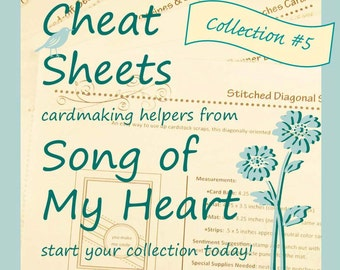 Cheat Sheets Collection #5: Instant Digital Download cardmaking tutorials, sketches, rubber stamping, complete instructions & measurements