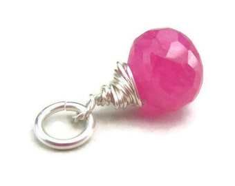 Pink Gemstone Charm in Sterling Silver Wire Wrapped Raspberry Drop Necklace Charm