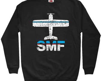Fly Sacramento SMF Airport Sweatshirt - Men S M L XL 2x 3x - Crewneck, Sacramento Airport, Plane Sweatshirt, Airplane Sweatshirt, Pilot Gift