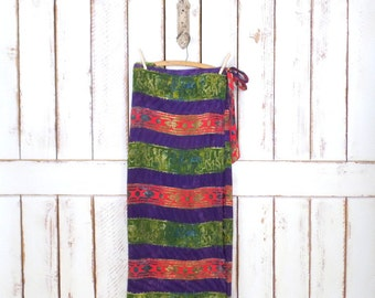 Vintage purple/green/pink striped tribal print maxi wrap skirt/long batik  tyie dye boho/hippie festival wrap skirt