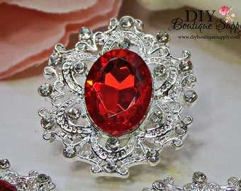 Large RED Rhinestone Buttons Crystal Buttons Flatback Embellishment For Shoe Clips Invitations Headbands Bows flower centers 3pc 35mm 793045