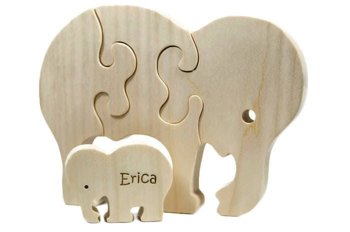 Personalized Wooden Puzzle, Wood Elephant Toy, Elephant Puzzle, Elephant Toy, Personalized Toy, Personalized Puzzle, Toy Puzzle for Toddlers