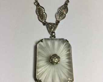 "Vintage Art Deco Sterling Silver Rock Crystal Camphor Glass Pendant on 16"" Chain"
