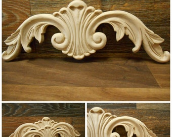"""Carved Wood Onlay -  15-1/16""""W  or 12 1/16"""" -Hand Carved Applique-Maple ref.Mo16s"""