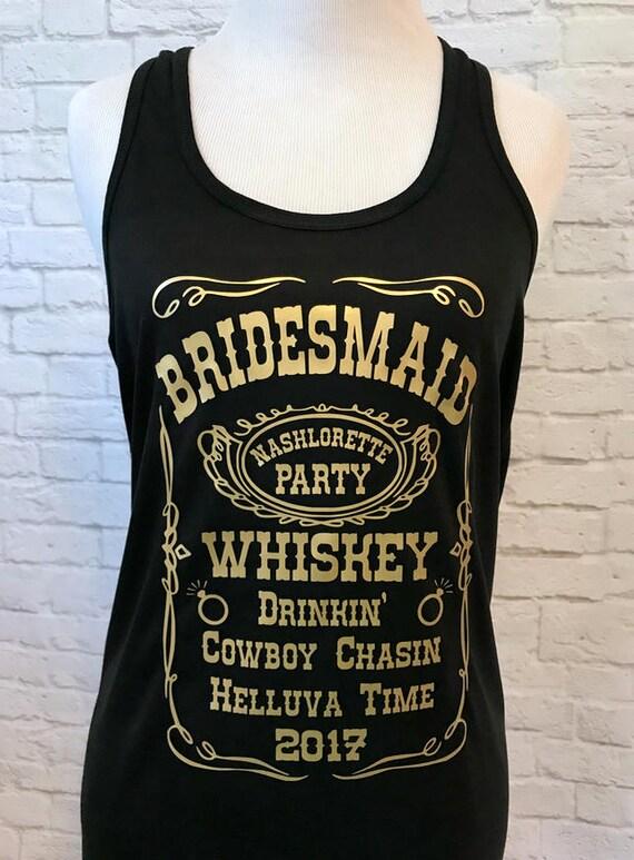 Bridesmaid Tribe Whiskey Custom Bachelorette Bridal Party Tank Top Flowy Racerback Tank Printed in Gold Metallic