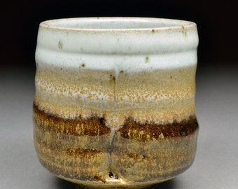 Extraordinary Small Handmade Stoneware Yunomi Tea Cup or Larger Guinomi Sake Cup glazed with Yellow Crystal Matte with Nuka Glazed Interior.