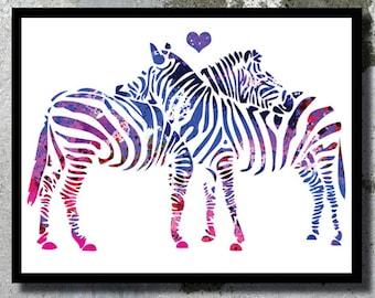 Zebra Print Love Art Zebra Watercolor Print Wedding Gift  Zoo decor Animal Watercolor Painting Zebra poster Zoo baby nursery African animal