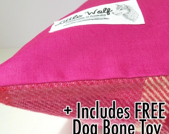 Hot Pink Dog Bed Cover, Pink Wool Dog Bed Cover, Washable Dog Bed, Cotton Dog Bed, Wool Dog Bed, Medium Dog Bed Cover, Reversible Dog Bed.
