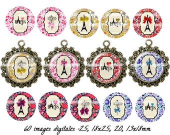 60 digital images for cabochon j'aime paris (25,18x25,20,13x18mm)