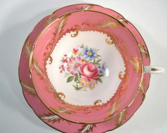 Pink Paragon Tea cup And Saucer, Hot Pink with Flowers, Wide Mouth  Cup.