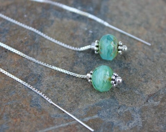 Glacier Ice Threader Earrings - faceted blue green glass, sterling silver accents, long sterling silver ear threads - free shipping USA