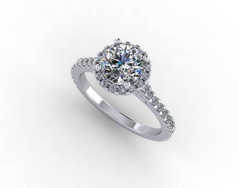 7mm round moissanite engagement ring, with diamond halo and diamond on sides,style 109WDM