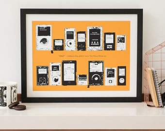 Playlist MP3 player Print. Favourite Song iPod iTunes gift him her wedding our song first dance mix tape play list personalised art Custom