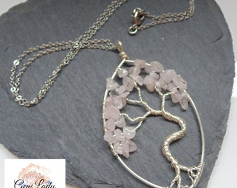Rose Quartz Wire Wrapped Tree Of Life Oval Pendant Necklace ~ Gemstone Crystal Healing ~ Handmade Ooak