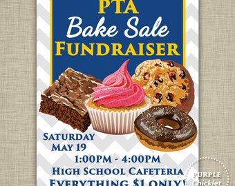 PTA Bake Sale Printable Flyer Fundraiser Advertisement Printable Navy Blue and Gold Customized Digital JPEG File 1