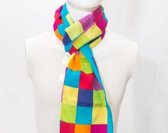 Vintage Silk Adrienne Vittadini Silk Scarf with Bright Colored Blocks