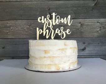Cake topper, personalized, gold cake topper, wedding cake topper, custom wording
