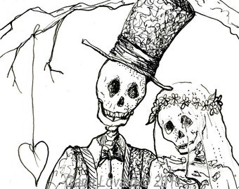 Day of the Dead, Skeleton Valentine,  Gothic Bride and groom, Halloween wedding, gothic decor, giclee print, drawing