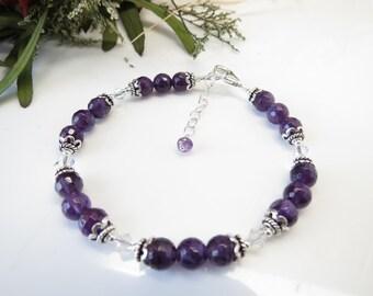 Amethyst Bracelet, Purple Gemstone Bracelet In Sterling, February Birthstone, Amethyst With Swarovski Jewelry, 7 1/4-8 1/4 Inches Length