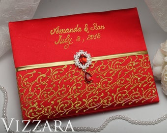 Wedding guest book Red and gold wedding Custom guest book Red wedding ideas Modern wedding guest books Red wedding colors